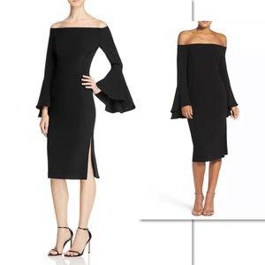 BARDOT SOLANGE BLACK OFF SHOULDER BLACK DRESS SZ L
